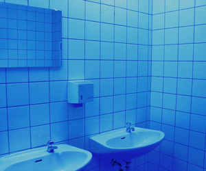 blue, aesthetic, and bathroom image