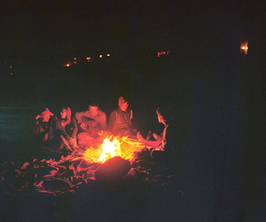 fire, friends, and boy image