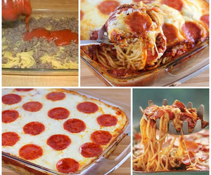 pizza, food, and spaghetti image