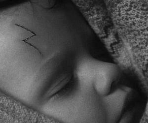 baby, black and white, and harry potter image