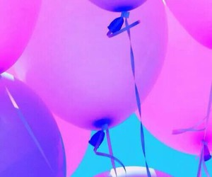 balloons, pink, and purple image