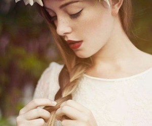 bride, flower, and hair image