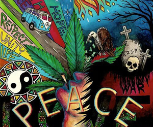peace, happiness, and weed image