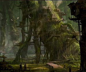 fort, treehouses, and forest dwellers image