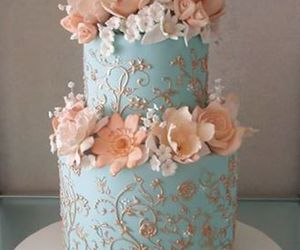 cake, flowers, and blue image