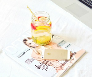 drink, magazine, and iphone image