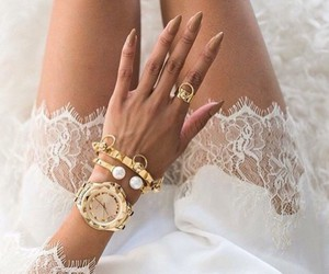 fashion, nails, and gold image