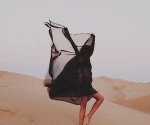 girl, black, and desert image