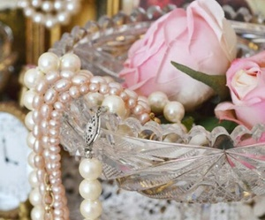 pearls, pink, and rose image