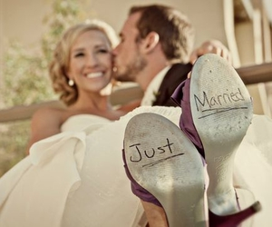 wedding, just married, and couple image