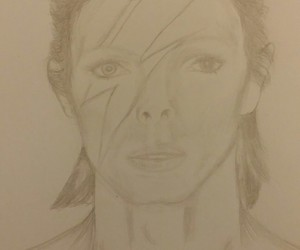 david bowie, illustration, and drawing image