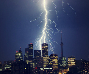 city and lightning image
