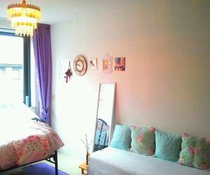 bedroom, purple, and turqoise image