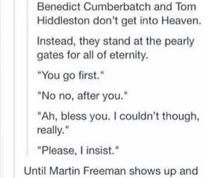 funny, Martin Freeman, and tom hiddleston image