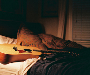 guitar, bed, and photography image