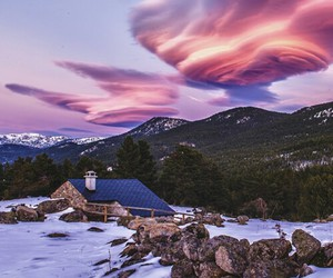 clouds, fire, and landscape image