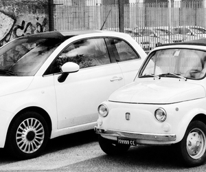 500, black and white, and car image