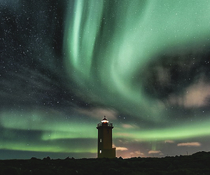 aurora borealis, green, and stars image