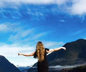 background, birds, and mountains image
