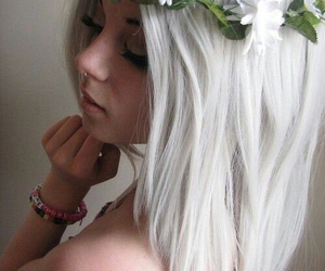 flowers, white, and girl image