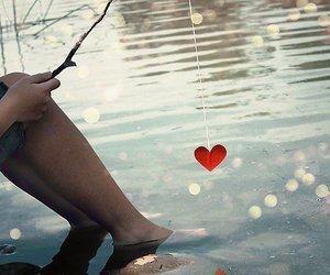 heart, lake, and romance image