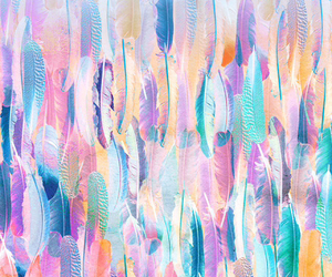 wallpaper, feather, and colors image