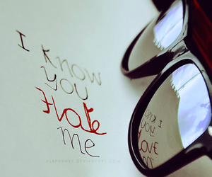 hate, love, and glasses image