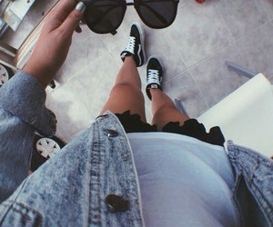 glasses, vans, and outfit image