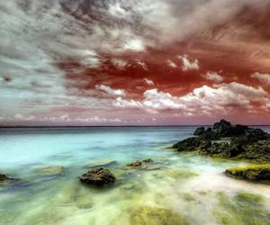 clouds, colors, and sea image