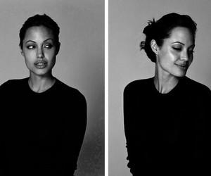 Angelina Jolie, black and white, and angelina image