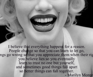 Marilyn Monroe, black and white, and quote image