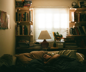bed, books, and california image