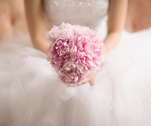 flowers, pink, and bride image