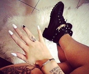 tattoo, nails, and shoes image