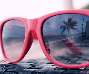 beach, glasses, and pink image