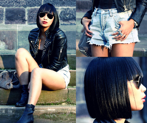 black, black hair, and boot image