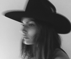 hat, black and white, and beautiful image