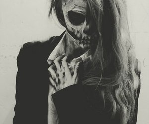 girl, Halloween, and black and white image