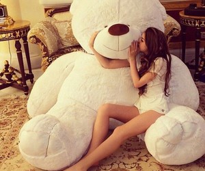 girl, bear, and teddy bear image