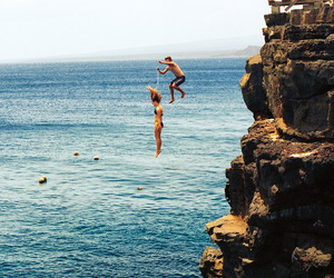 summer, sea, and jump image