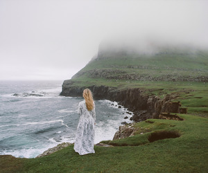 girl, sea, and fog image