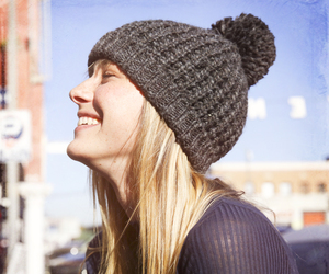 beanie, blonde, and smile image