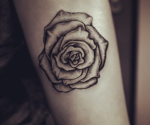 black ink, rose, and tattoo image