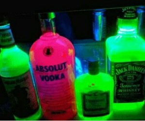 bottles, colors, and neon image