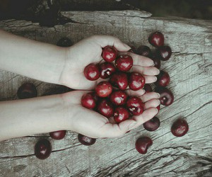 cherry, fruit, and hands image