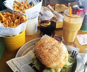 food, burger, and drink image