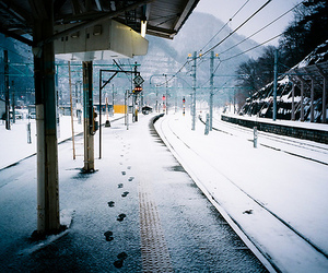 snow, photography, and railway image