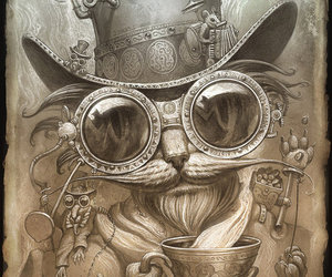 steampunk, cat, and drawing image