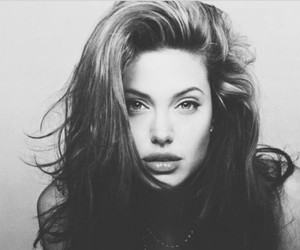 Angelina Jolie, hair, and black and white image
