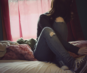 girl, converse, and jeans image